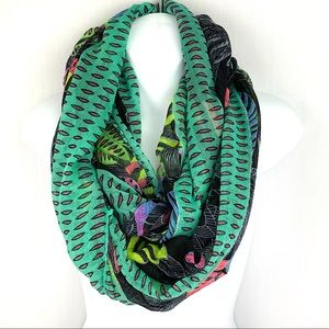 Accessories - Topical Floral Infinity Scarf with Birds